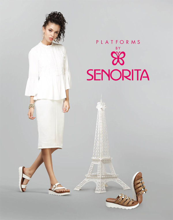 Go with the trend evince your style statement these white outsole platforms by Senorita.