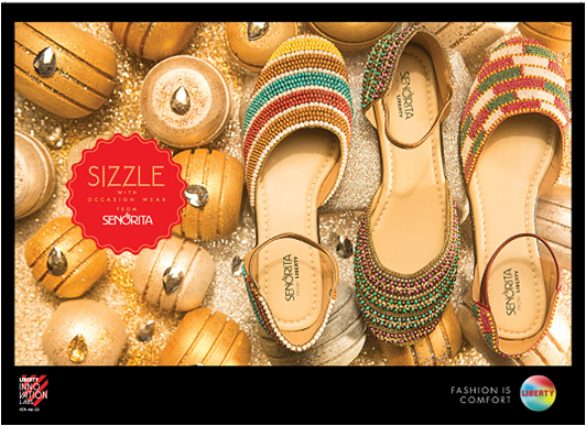 Available in Copper color priced at Rs.1999, this fashion sandal for ladies is available pan India across all the Liberty exclusive showrooms.