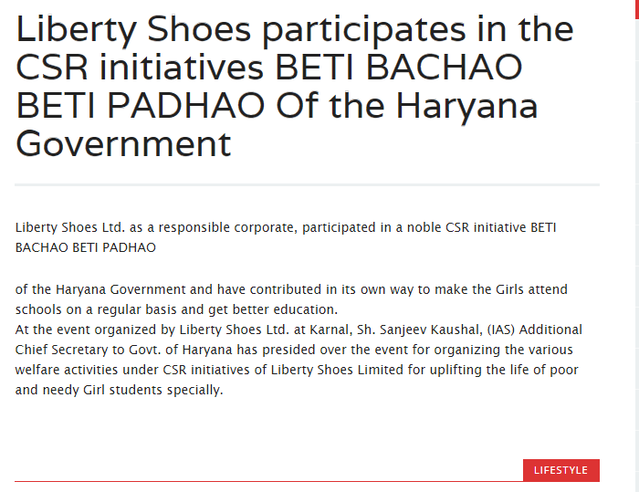 Liberty Shoes Participates in the CSR initiatives BETI BACHAO BETI PADHAO of Haryana Govt